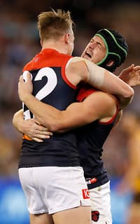 Aaron vandenBerg and Angus Brayshaw celebrate on Friday night