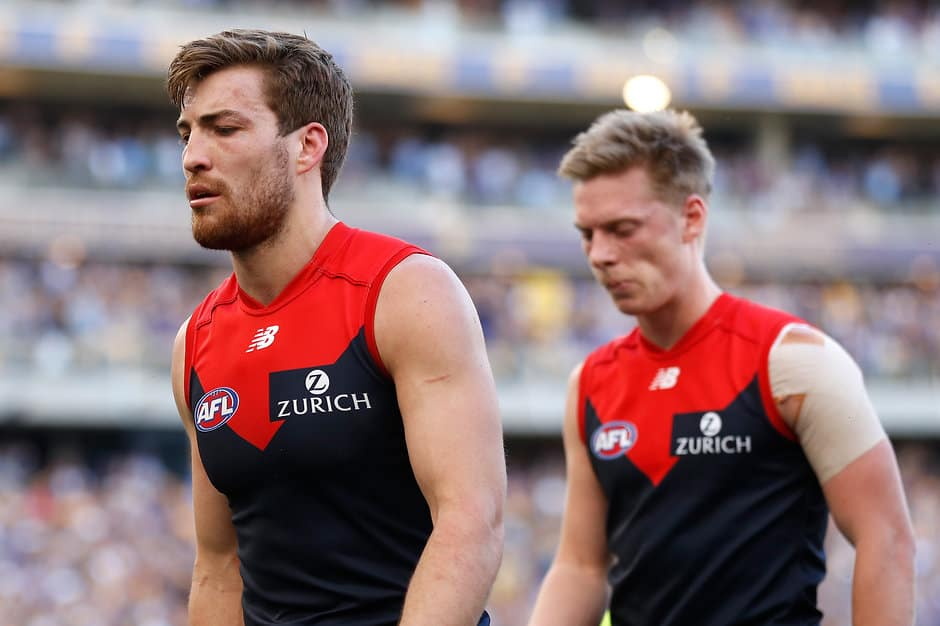 A dejected Jack Viney walks from the ground after a disappointing preliminary final loss - AFL,Melbourne,West Coast Eagles,Jack Viney