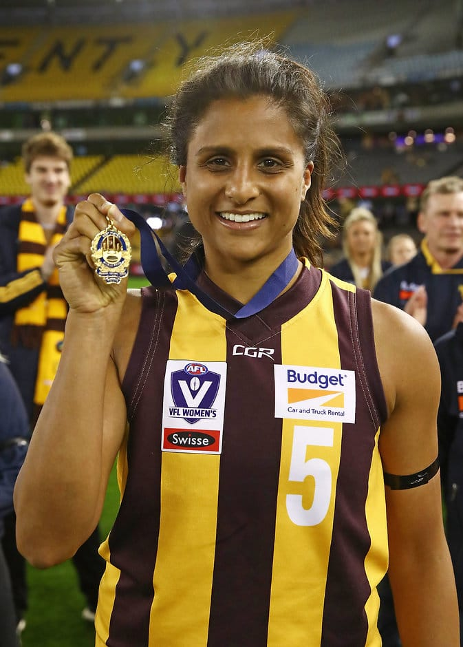 MELBOURNE, AUSTRALIA - SEPTEMBER 23:  Chantella Perera of Hawthorn poses with the best on ground award during the VFLW Grand Final match between Hawthorn and Geelong at Etihad Stadium on September 23, 2018 in Melbourne, Australia.  (Photo by Scott Barbour/AFL Media)