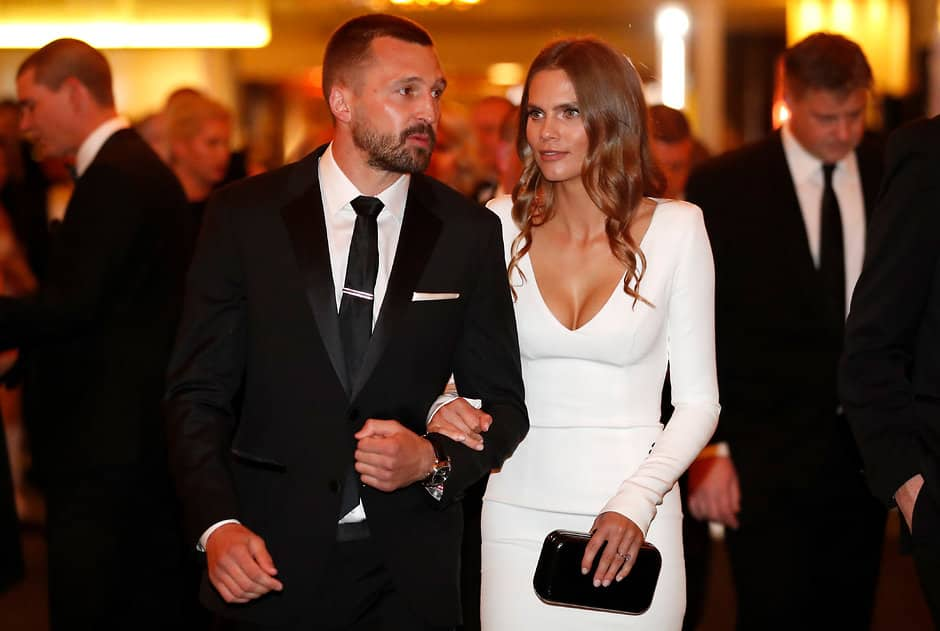 MELBOURNE, AUSTRALIA - SEPTEMBER 24: Jarryn Geary of the Saints and partner Emma Giles look on during the 2018 Brownlow Medal Count at Crown Palladium on September 24, 2018 in Melbourne, Australia. (Photo by Michael Willson/AFL Media)