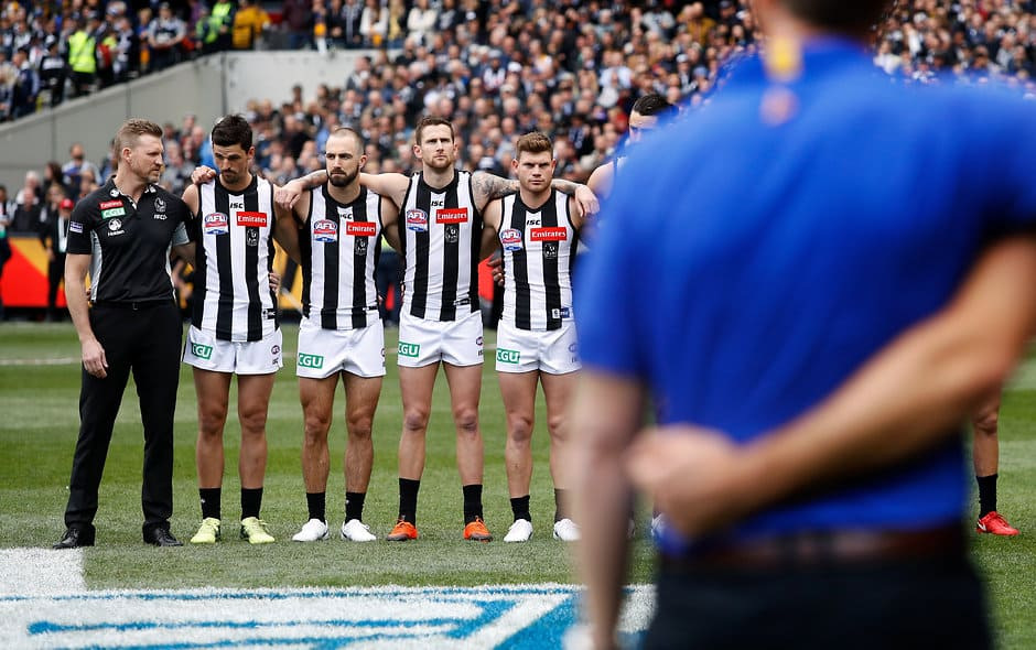 The Pies line up for the national anthem before the 2018 Grand Final - Collingwood Magpies
