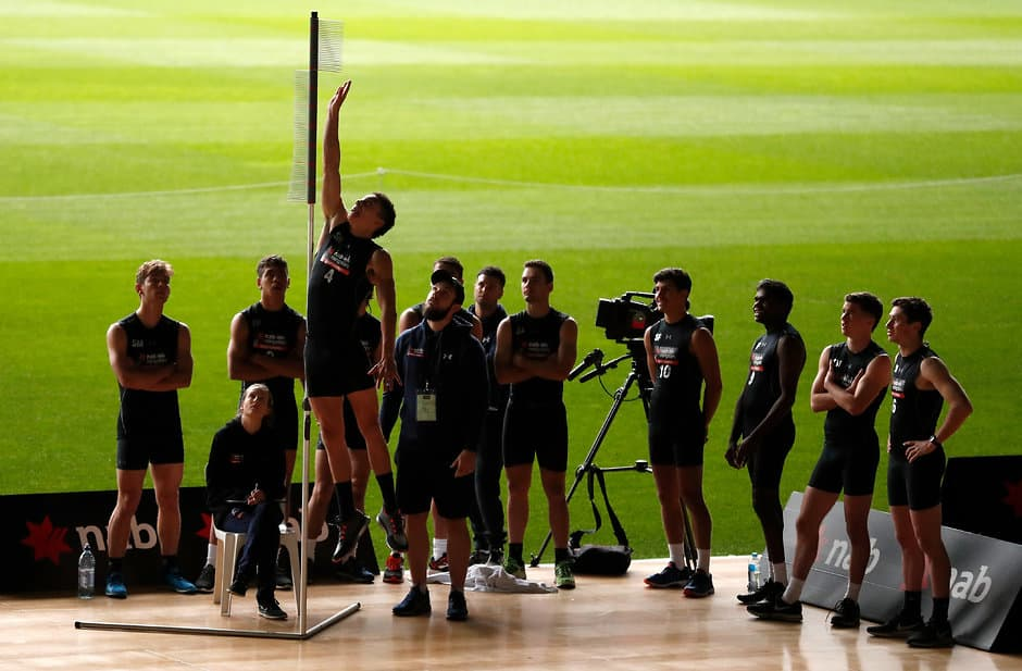MELBOURNE, AUSTRALIA - OCTOBER 04: Zac Foot performs the jumping test during the AFL Draft Combine at Marvel Stadium on October 4, 2018 in Melbourne, Australia. (Photo by Michael Willson/AFL Media)