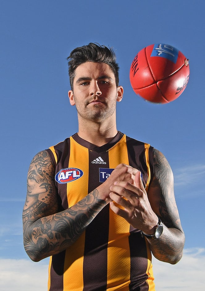 Chad Wingard pulled on a brown and gold jumper for the first time on Friday.  - Chad Wingard
