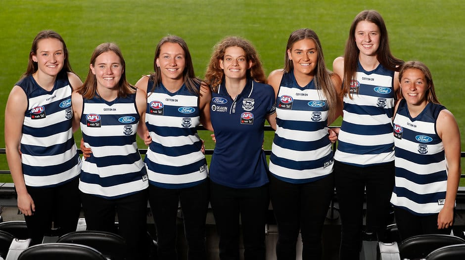 Geelong's 2018 draftees: Georgia Clarke, Denby Taylor, Sophie van De Heuvel, Nina Morrison, Rebecca Webster, Rene Caris and Olivia Purcell. - Geelong Cats