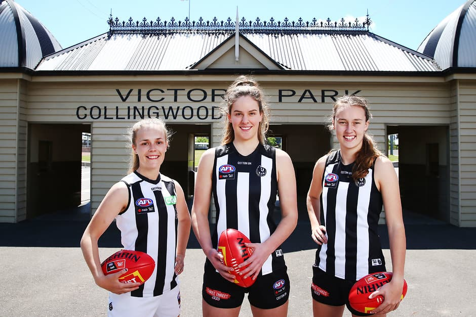 MELBOURNE, AUSTRALIA - OCTOBER 26:   Collingwood AFLW players Holly Whitford (L)  Katie Lynch and Jordy Allen (R) pose during the 2019 NAB AFLW Fixture Announcement on October 26, 2018 in Melbourne, Australia. (Photo by Michael Dodge/AFL Media)