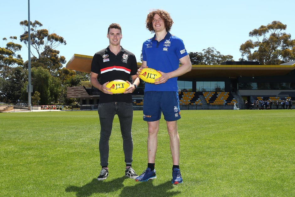 Blake Acres of the St Kilda Saints (R) and Ben Brown of North Melbourne at the 2019 JLT Community Series Fixture Announcement  - St Kilda Saints,JLT Series