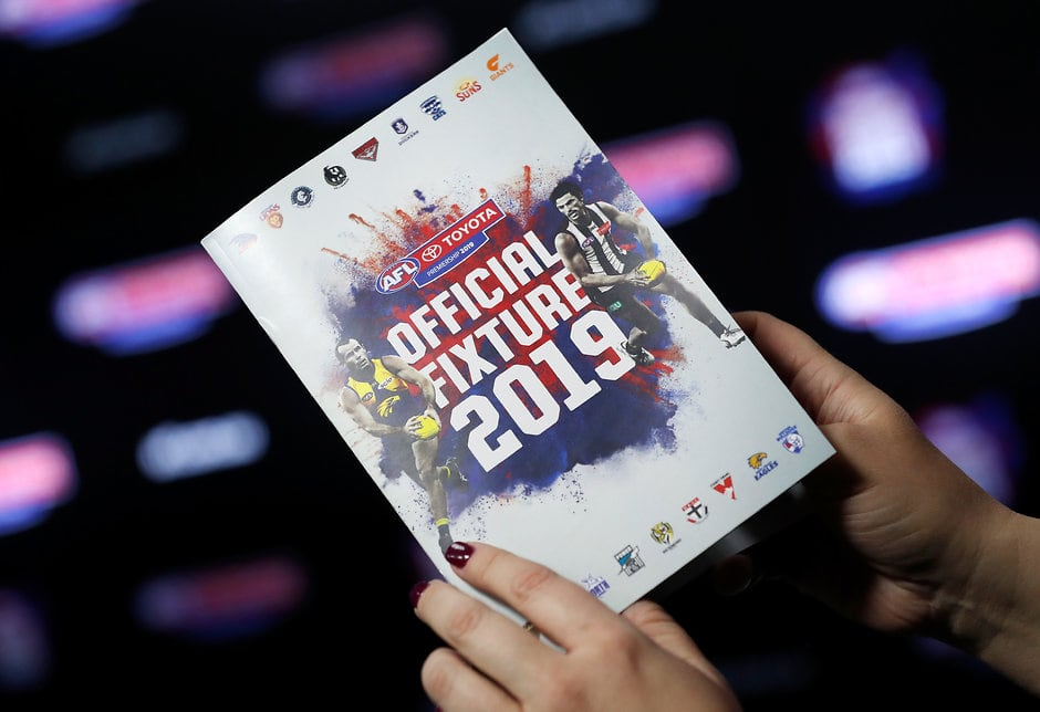 MELBOURNE, AUSTRALIA - NOVEMBER 1: The fixture guide is seen during the 2019 Toyota AFL Premiership Season Fixture Release at Marvel Stadium on November 1, 2018 in Melbourne, Australia. (Photo by Michael Willson/AFL Media)
