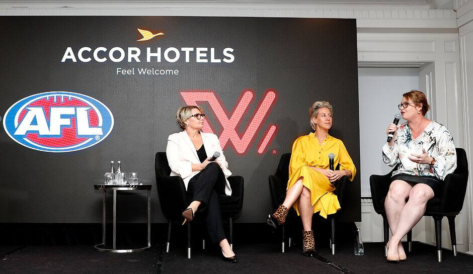 AFL General Manager Commercial Kylie Rogers (c) with Accor Hotels' Renae Trimble (l) and Sarah Derry (r) at the announcement - AFL