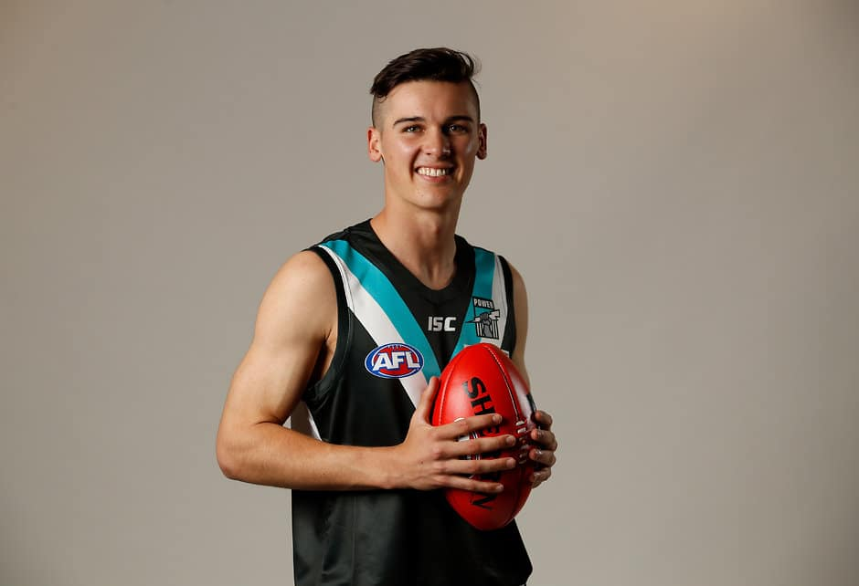 MELBOURNE, AUSTRALIA - NOVEMBER 22: Connor Rozee of the Power poses during the 2018 NAB AFL Draft at Marvel Stadium on November 22, 2018 in Melbourne, Australia. (Photo by Adam Trafford/AFL Media)