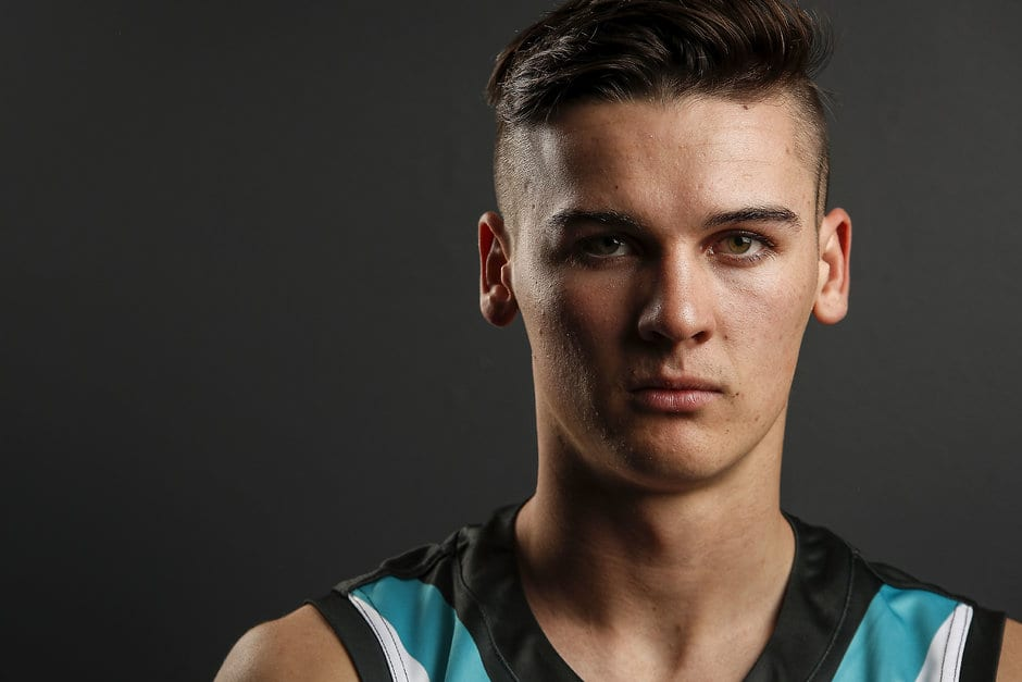 MELBOURNE, AUSTRALIA - NOVEMBER 22: Connor Rozee of the Power poses for a photo during the 2018 NAB AFL Draft at Marvel Stadium on November 22, 2018 in Melbourne, Australia. (Photo by Dylan Burns/AFL Media)