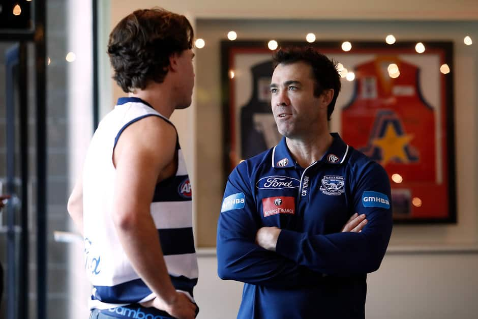 Oscar Brownless and Chris Scott chat at the National Draft at Marvel Stadium - Geelong Cats,Chris Scott