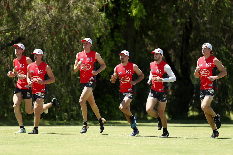 GOLD COAST, AUSTRALIA - NOVEMBER 26:  New signings run during a Gold Coast Suns AFL training session on November 26, 2018 in Gold Coast, Australia.  (Photo by Chris Hyde/Getty Images/AFL Media)