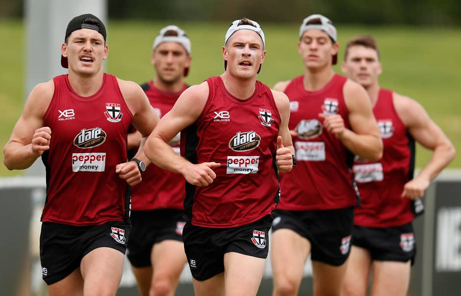 MELBOURNE, AUSTRALIA - NOVEMBER 29: Jack Newnes of the Saints (right) and Josh Battle of the Saints in action during the St Kilda Saints training session at RSEA Park on November 29, 2018 in Melbourne, Australia. (Photo by Michael Willson/AFL Media)