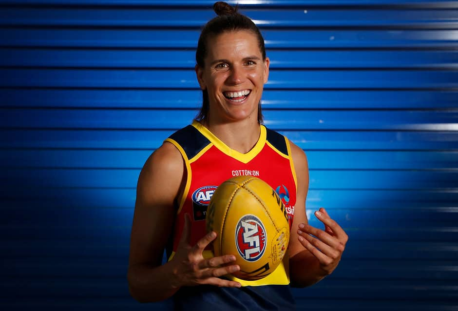 ADELAIDE, AUSTRALIA - NOVEMBER 30: Chelsea Randall poses for a photograph during the Adelaide Crows AFLW 2019 official team photo day at AAMI Stadium on November 30, 2018 in Adelaide, Australia. (Photo by Michael Willson/AFL Media)