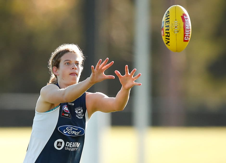 Nina Morrison completing a session at Deakin University earlier this year. - Geelong Cats,Nina Morrison
