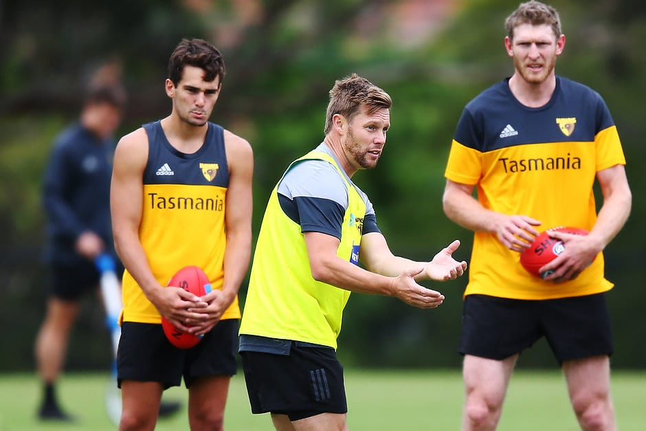MELBOURNE, AUSTRALIA - DECEMBER 03: New Hawks assistant coach Sam Mitchell speaks to players during a Hawthorn Hawks AFL training session at Xavier College on December 03, 2018 in Melbourne, Australia. (Photo by Michael Dodge/Getty Images/AFL Media)