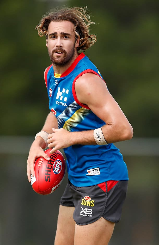 GOLD COAST, AUSTRALIA - DECEMBER 13: Brayden Crossley of the Suns in action during the Gold Coast Suns training session at Metricon Stadium on December 13, 2018 on the Gold Coast, Australia. (Photo by Adam Trafford/AFL Media)