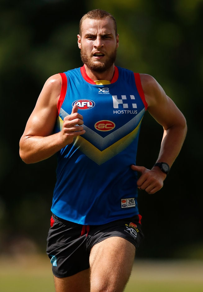GOLD COAST, AUSTRALIA - DECEMBER 13: Jarrod Witts of the Suns runs during the Gold Coast Suns training session at Metricon Stadium on December 13, 2018 on the Gold Coast, Australia. (Photo by Adam Trafford/AFL Media)