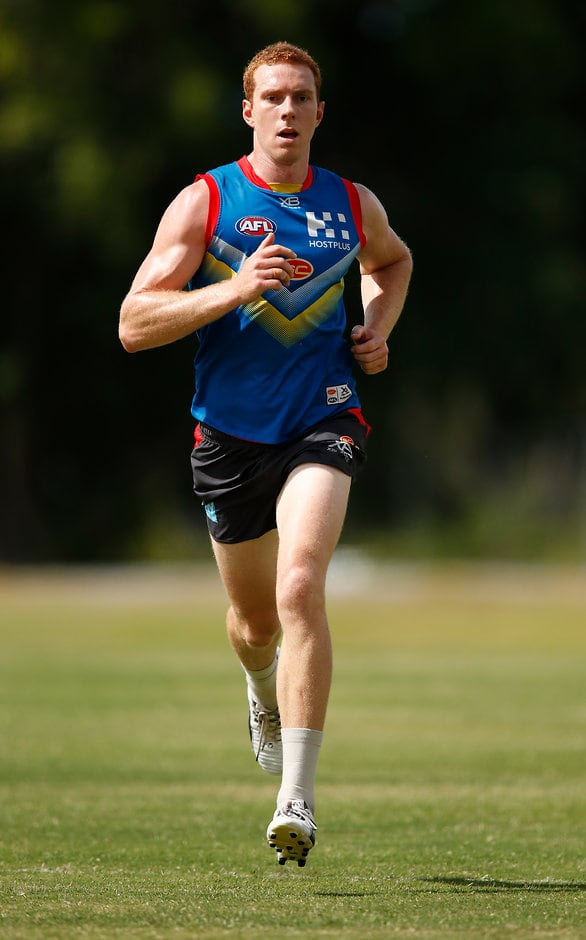 GOLD COAST, AUSTRALIA - DECEMBER 13: Rory Thompson of the Suns runs during the Gold Coast Suns training session at Metricon Stadium on December 13, 2018 on the Gold Coast, Australia. (Photo by Adam Trafford/AFL Media)