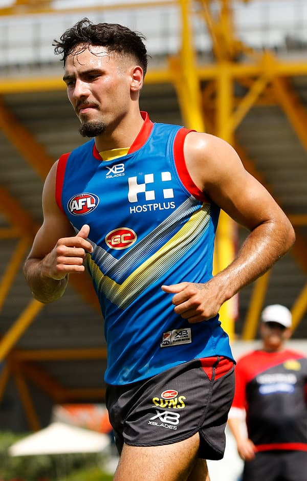 GOLD COAST, AUSTRALIA - DECEMBER 13: Izak Rankine of the Suns runs laps during the Gold Coast Suns training session at Metricon Stadium on December 13, 2018 on the Gold Coast, Australia. (Photo by Adam Trafford/AFL Media)