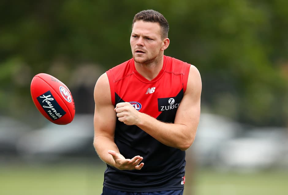 MELBOURNE, AUSTRALIA - DECEMBER 20: Steven May of the Demons in action at Gosch's Paddock on December 20, 2018 in Melbourne, Australia. (Photo by Adam Trafford/AFL Media)