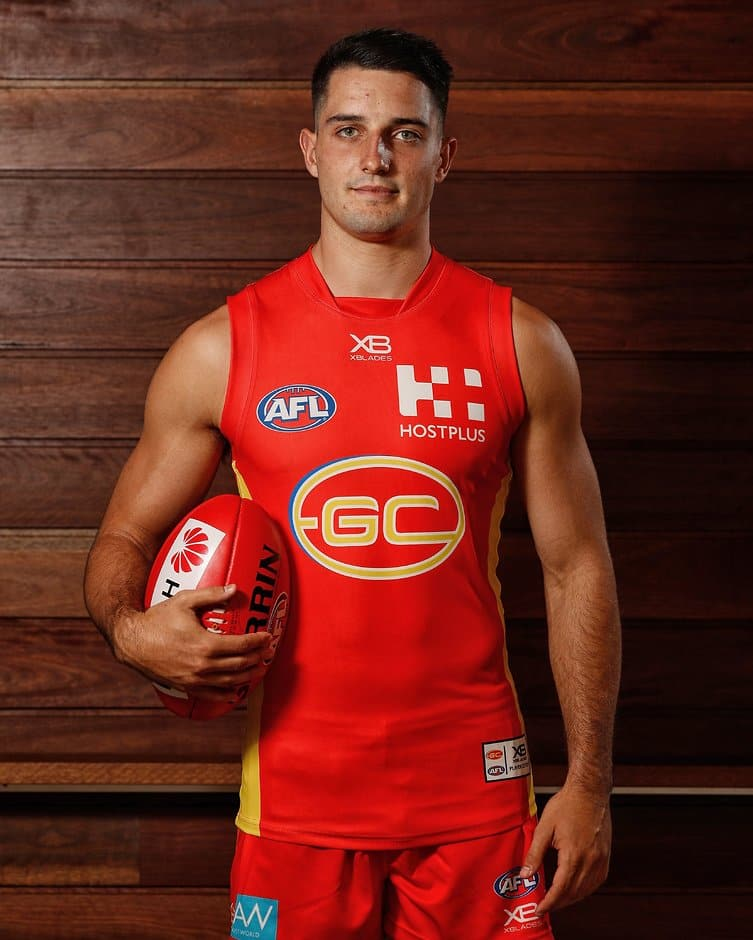 GOLD COAST, AUSTRALIA - JANUARY 24: Brayden Fiorini of the Suns poses for a photograph during the Gold Coast Suns 2019 official team photo day at Metricon Stadium on January 24, 2019 on the Gold Coast, Australia. (Photo by Michael Willson/AFL Media)