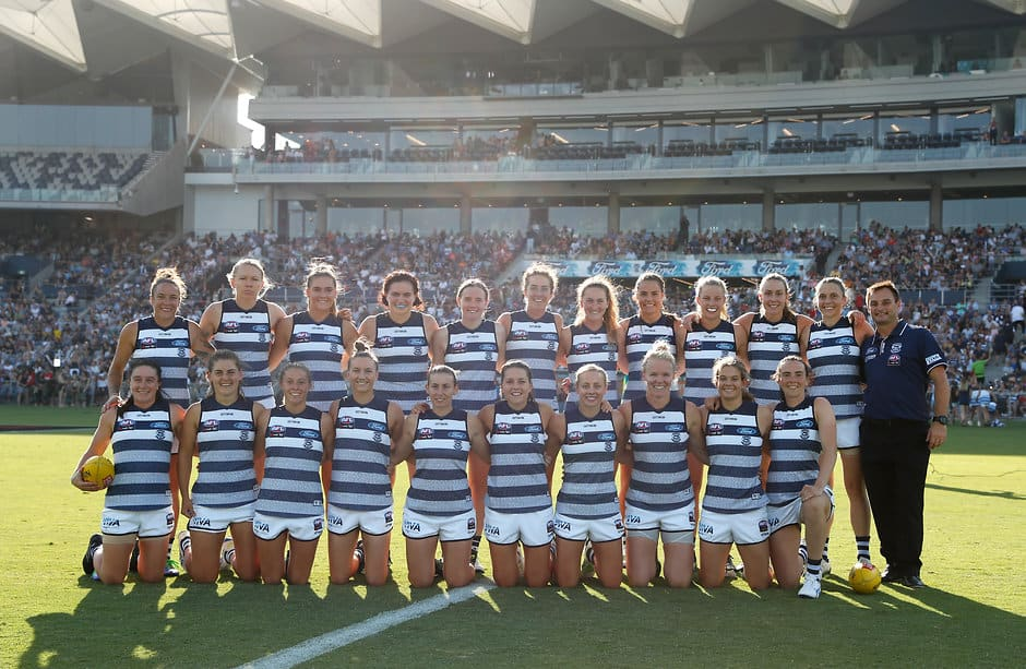 Geelong pose for a photo in the club's first AFLW match against Collingwood. - Geelong Cats,Phoebe McWilliams