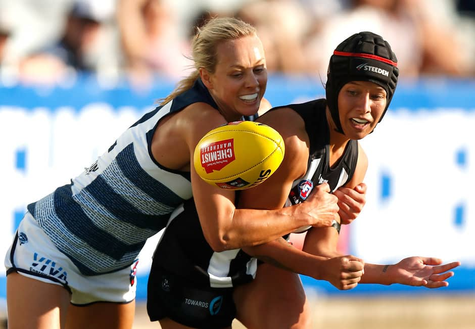Renee Garing has tackled herself in contention as a frontrunner for this year's Best and Fairest Award. - Geelong Cats