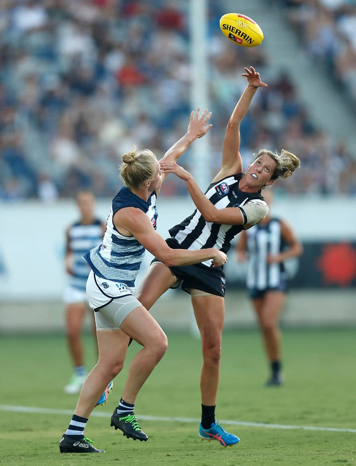 Erica Fowler competes in the ruck against Geelong in round one of the 2019 AFLW season - AFLW,Collingwood Magpies