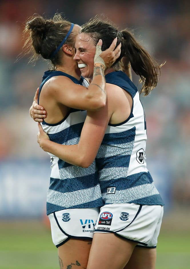 Mia-Rae Clifford and Cassie Blakeway celebrate on the siren - Geelong Cats