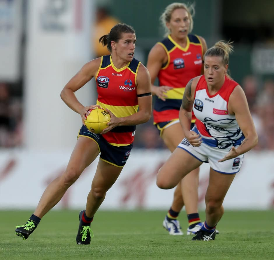 ADELAIDE, AUSTRALIA - FEBRUARY 02: Chelsea Randall of the Crows breaks away during the 2019 NAB AFLW Round 01 match between the Adelaide Crows and the Western Bulldogs at Norwood Oval on February 02, 2019 in Adelaide, Australia. (Photo by AFL Media)