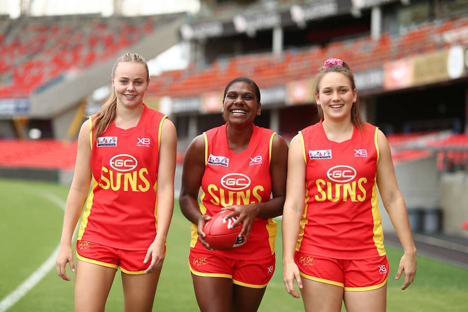 GOLD COAST, AUSTRALIA - FEBRUARY 08: (L-R) Charlotte Hammans,  Kitara Whap-Farrar and Ellie Hampson pose during a Gold Coast Suns AFLW Media Opportunity on February 08, 2019 in Gold Coast, Australia. (Photo by Chris Hyde/Getty Images/AFL Media)