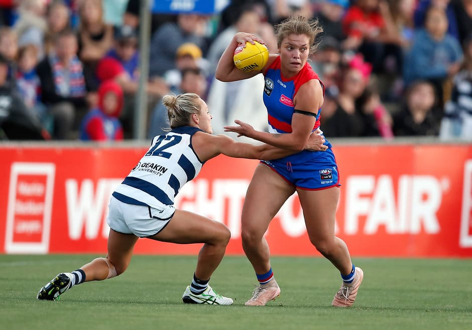 AFLW duo Ellie Blackburn and Ange Gogos will play their first VFLW matches of the season. - Western Bulldogs