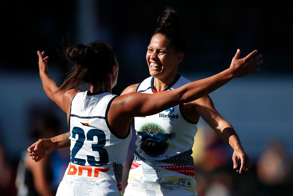MELBOURNE, AUSTRALIA - FEBRUARY 10: Stevie-Lee Thompson of the Crows (right) celebrates a goal with Justine Mules of the Crows during the 2019 NAB AFLW Round 02 match between the Carlton Blues and the Adelaide Crows at Ikon Park on February 10, 2019 in Melbourne, Australia. (Photo by Adam Trafford/AFL Media)