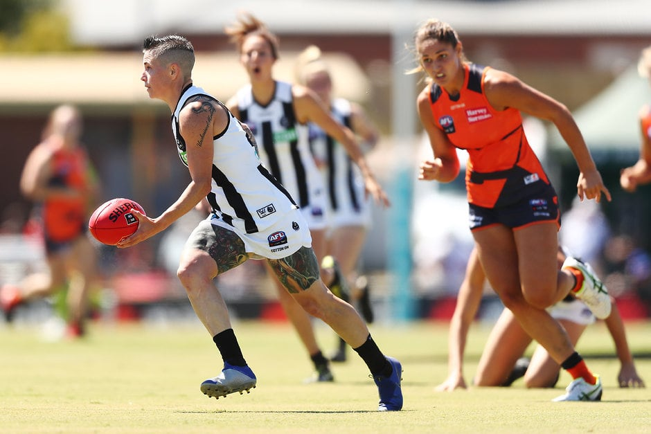 Cecilia McIntosh in action against the Giants earlier this season - Collingwood Magpies,AFLW