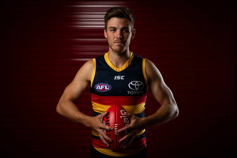 ADELAIDE, AUSTRALIA - FEBRUARY 25: Paul Seedsman of the Crows poses for a photograph during the Adelaide Crows 2019 official team photo day at AAMI Stadium on February 25, 2019 in Adelaide, Australia. (Photo by James Elsby/AFL Media)