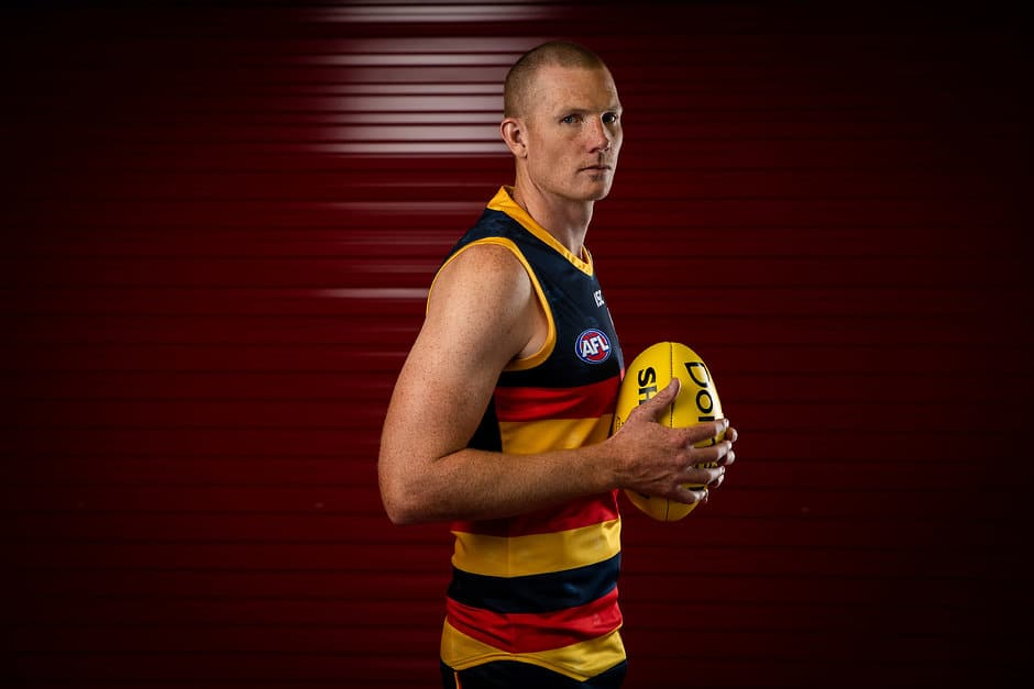 ADELAIDE, AUSTRALIA - FEBRUARY 25: Sam Jacobs of the Crows poses for a photograph during the Adelaide Crows 2019 official team photo day at AAMI Stadium on February 25, 2019 in Adelaide, Australia. (Photo by James Elsby/AFL Media)