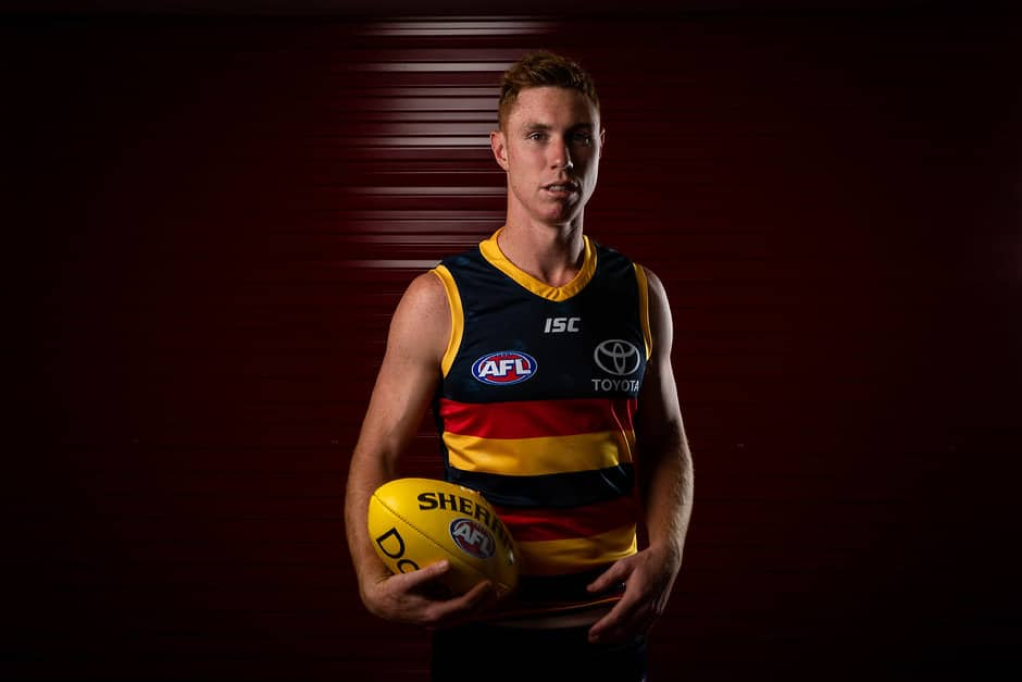 ADELAIDE, AUSTRALIA - FEBRUARY 25: Tom Lynch of the Crows poses for a photograph during the Adelaide Crows 2019 official team photo day at AAMI Stadium on February 25, 2019 in Adelaide, Australia. (Photo by James Elsby/AFL Media)