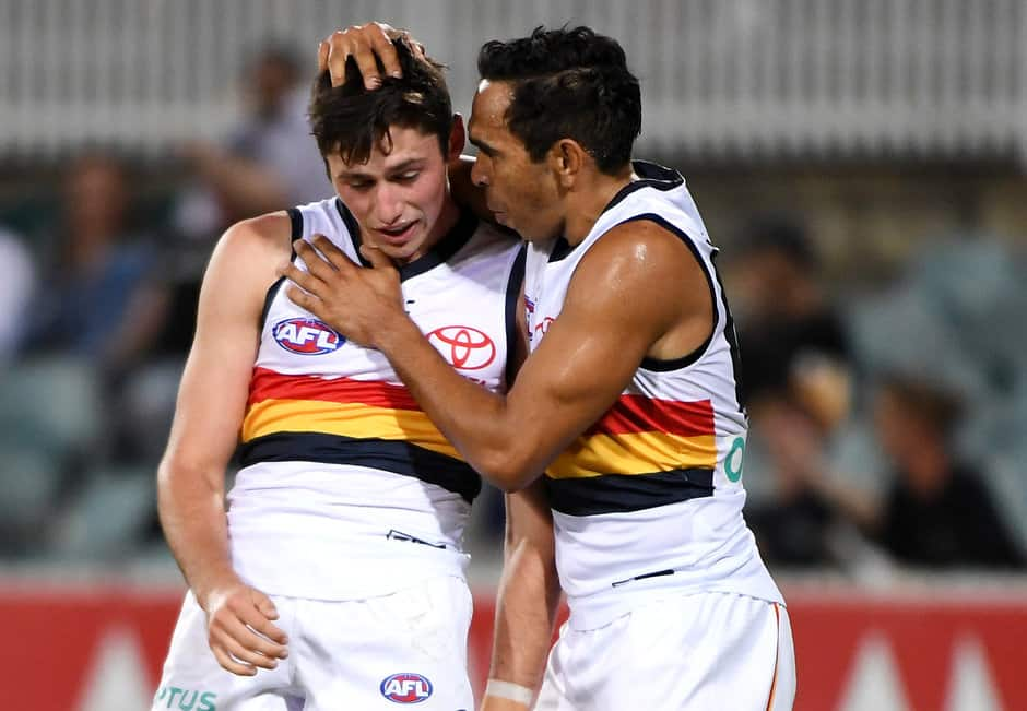 CANBERRA, AUSTRALIA - MARCH 08: Chayce Jones of the Crows celebrates a goal with Eddie Betts of the Crows during the 2019 JLT Community Series AFL match between the Greater Western Sydney Giants and the Adelaide Crows at UNSW Canberra Oval on March 08, 2019 in Canberra, Australia. (Photo by Tracey Nearmy/Getty Images)