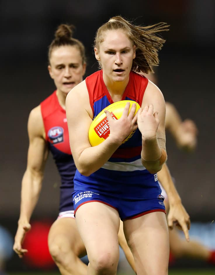 Aisling Utri in action during Saturday night's thrilling loss to Melbourne at Marvel Stadium. (Photo: AFL Media) - Western Bulldogs