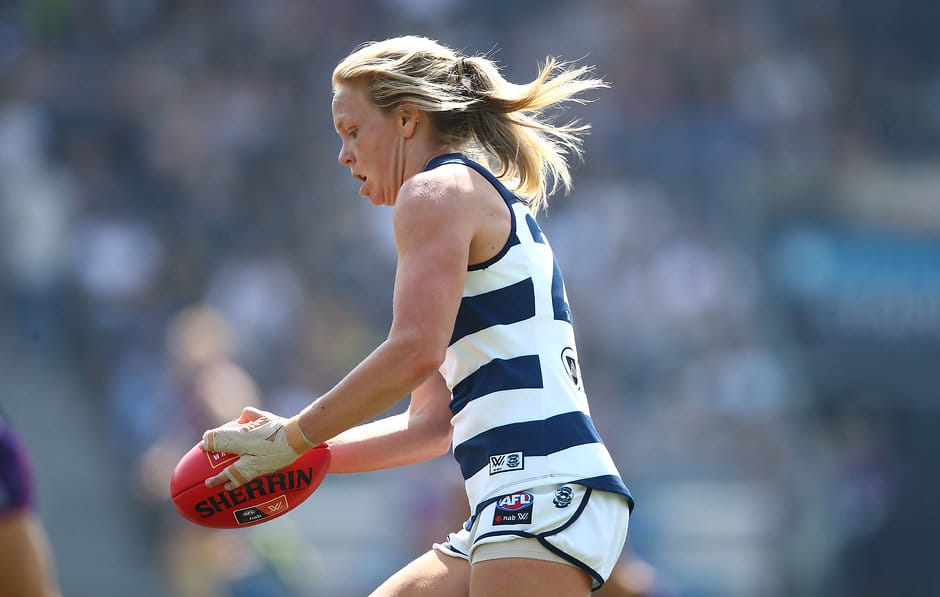 Phoebe McWilliams in action against Fremantle. - Geelong Cats,Phoebe McWilliams