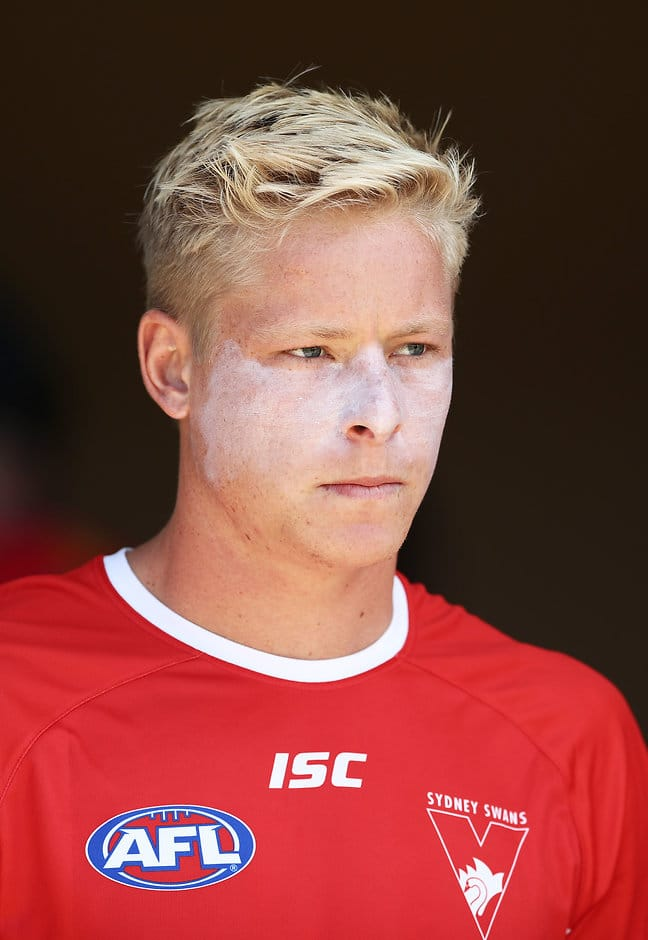 LISMORE, AUSTRALIA - MARCH 10: Isaac Heeney of the Swans prepares before the 2019 JLT Community Series AFL match between the Sydney Swans and the Gold Coast Suns at Oakes Oval on March 10, 2019 in Lismore, Australia. (Photo by Matt King/Getty Images)