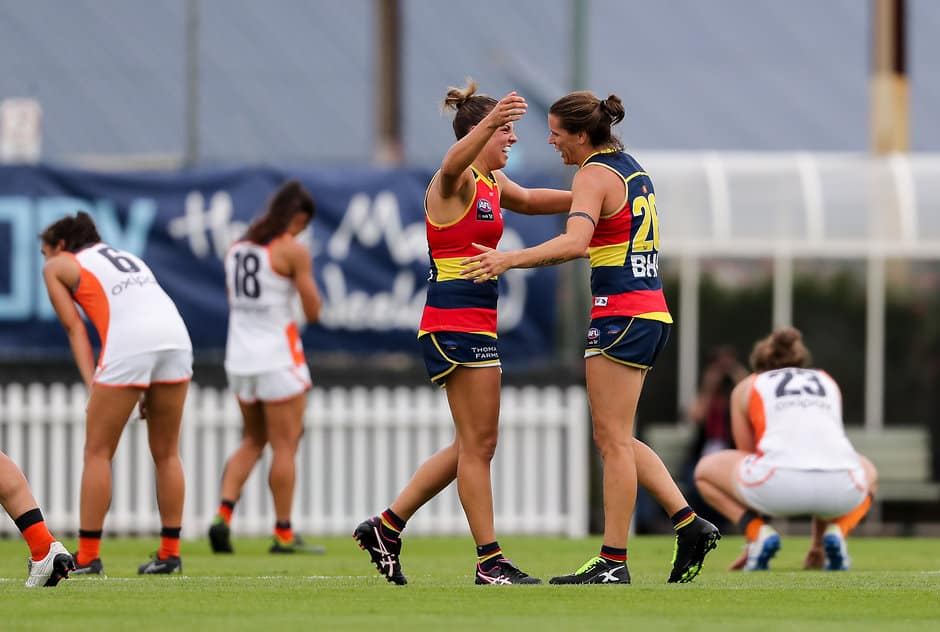 ADELAIDE, AUSTRALIA - MARCH 10: Ebony Marinoff and Chelsea Randall of the Crows celebrate victory after the 2019 NAB AFLW Round 06 match between the Adelaide Crows and the GWS Giants at Unley Oval on March 10, 2019 in Adelaide, Australia. (Photo by AFL Media)