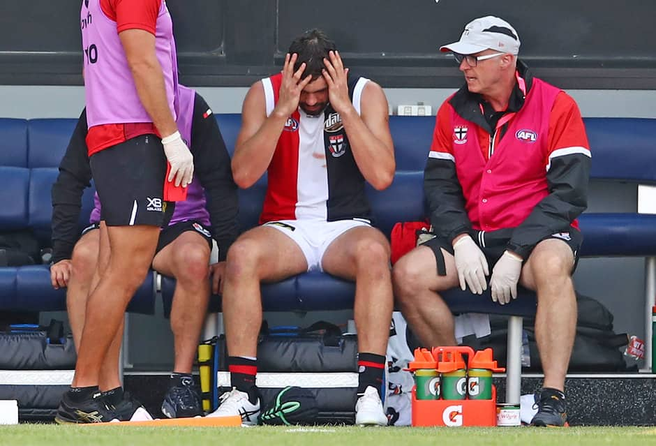 Paddy McCartin after he suffered a head knock against the Bulldogs - AFL,St Kilda Saints,Paddy McCartin,Injuries