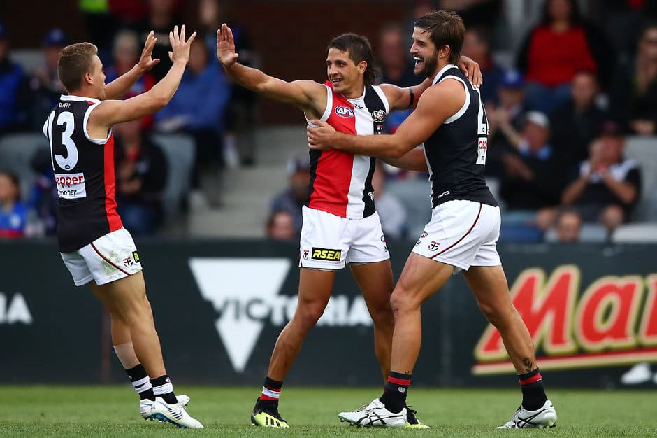 BALLARAT, AUSTRALIA - MARCH 10: Ben Long of the Saints celebrates after kicking a goal with Josh Bruce of the Saints and Jack Lonie of the Saints during the 2019 JLT Community Series AFL match between the Western Bulldogs and the St Kilda Saints at Mars Stadium on March 10, 2019 in Ballarat, Australia. (Photo by Scott Barbour/Getty Images)