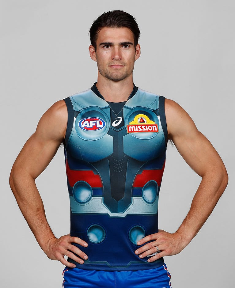 Easton Wood models the Dogs' round one jumper - AFL,Western Bulldogs,Jason Johannisen