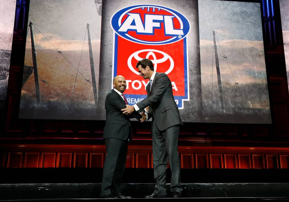 Toyota's CMO Wayne Gabriel and Gillon McLachlan at Thursday night's AFL Season Launch - AFL