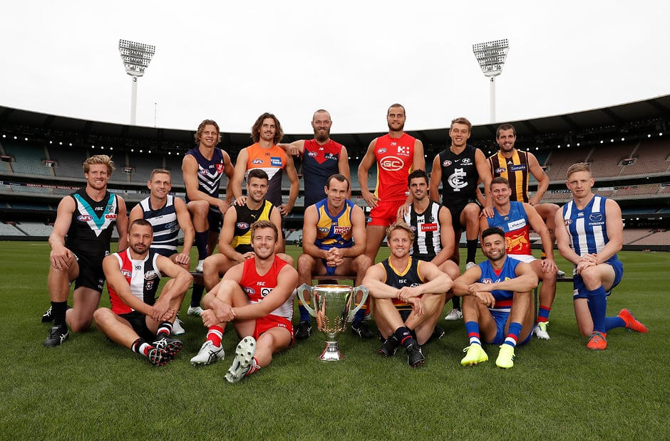 MELBOURNE, AUSTRALIA - MARCH 15: The 2019 AFL Captains (Max Gawn for Nathan Jones / Jack Viney, Jason Johannisen for Easton Wood) pose for a photograph during the 2019 AFL Captains Day at the MCG on March 15, 2019 in Melbourne, Australia. (Photo by Michael Willson/AFL Media)
