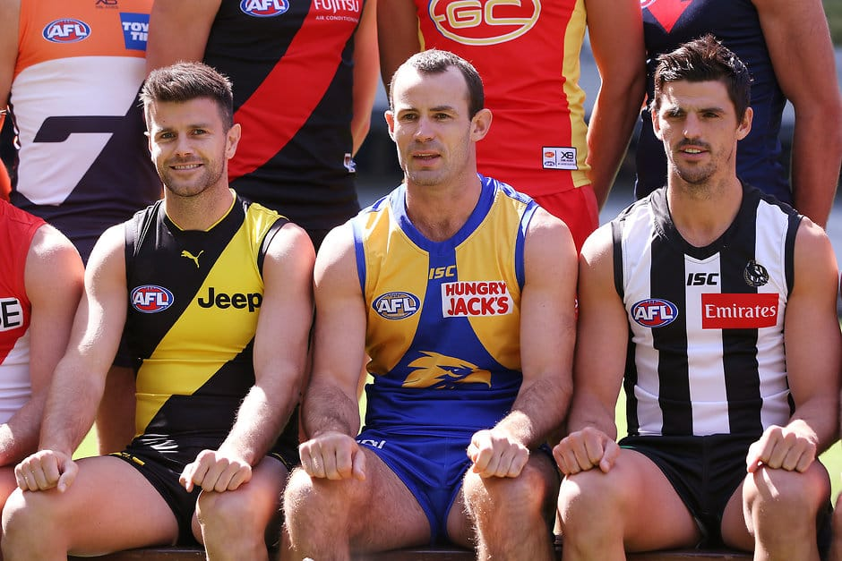 (L-R) Trent Cotchin, Shannon Hurn and Scott Pendlebury at Captains Day. All pictures: Michael Willson, AFL Photos - AFL,Gillon McLachlan,Adelaide Crows,Brisbane Lions,Carlton Blues,Collingwood Magpies,Essendon Bombers,Fremantle Dockers,Geelong Cats,Gold Coast Suns,GWS Giants,Hawthorn Hawks,Melbourne Demons,North Melbourne Kangaroos,Port Adelaide Power,Richmond Tigers,St Kilda Saints,Sydney Swans,West Coast Eagles,Western Bulldogs,News