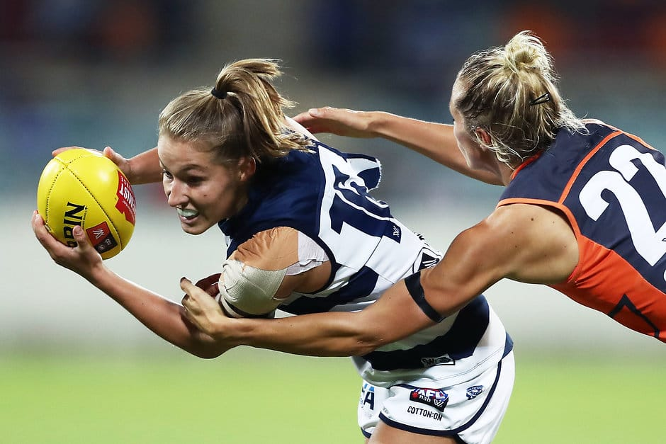 Olivia Purcell never stopped trying the for Cats, finishing with a team-high 19 disposals. - Geelong Cats